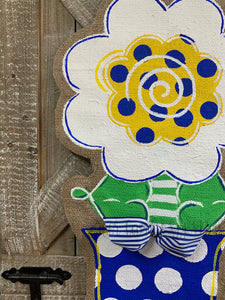 blue white and yellow burlap flower door hanger in blue and white polka dot flowerpo