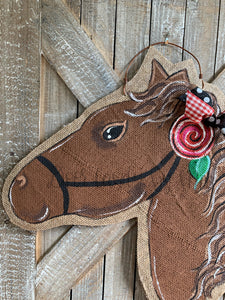 brown whimsy horse head door hanger with painted rose detail