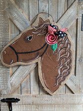 Load image into Gallery viewer, brown whimsy horse head door hanger with painted rose detail
