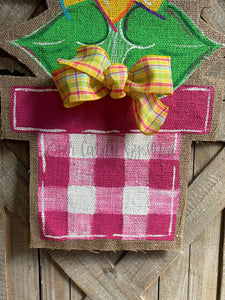 large yellow and pink flower in pink and white buffalo check flower pot burlap door hanger