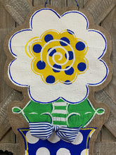 Load image into Gallery viewer, blue white and yellow burlap flower door hanger in blue and white polka dot flowerpo