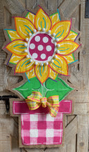 Load image into Gallery viewer, large yellow and pink flower in pink and white buffalo check flower pot burlap door hanger