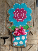 Load image into Gallery viewer, pink and turquoise whimsical burlap flower door hanger