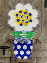 Load image into Gallery viewer, blue white and yellow burlap flower door hanger in blue and white polka dot flowerpot