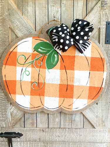 Burlap Pumpkin Door Hanger -  Buffalo Check Pumpkin in Orange
