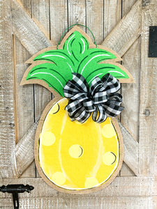 Burlap Pineapple Door Hanger Simple Yellow Dot