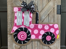 Load image into Gallery viewer, Pink Tractor Burlap Door Hanger - Farm Door Hanger