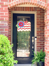 Load image into Gallery viewer, Fourth of July Burlap Door Hanger - Floral Flag