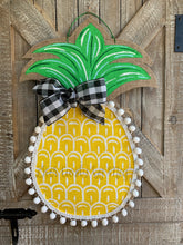 Load image into Gallery viewer, pineapple welcome door hanger, burlap pineapple door hanger, painted pineapple door hanger, doorcandybymeg