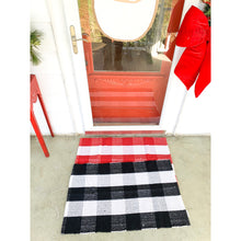 Load image into Gallery viewer, Black & White Buffalo Check Door Mat Rug