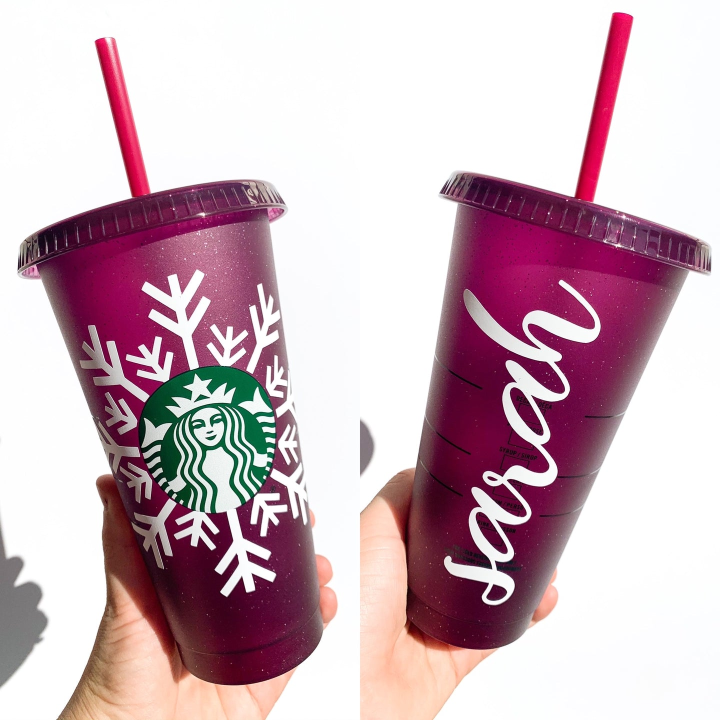 Holiday Glitter Snowflake Reusable Cup - plum with white snowflake