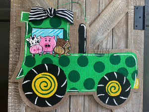 Green Tractor Burlap Door Hanger with Animals