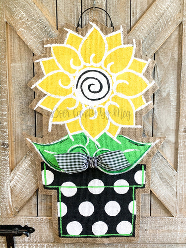 Sunflower Door Hanger - Small Yellow and Black Summer in Pot