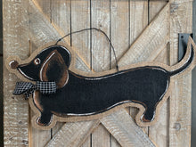 Load image into Gallery viewer, Dog Door Hanger - Whimsical Doxie in Black