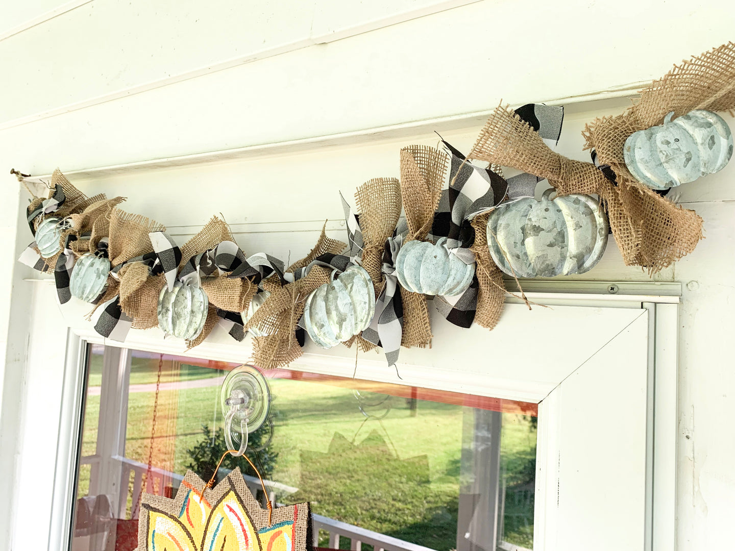 Buffalo Check Galvanized Pumpkin Garland