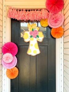 Easter Cross Door Hanger Yellow Polka Dots