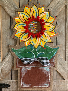 Burlap Sunflower Door Hanger - Small Yellow Fall in Flowerpot