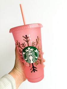 Holiday Glitter Snowflake Reusable Cup - pink with rose gold