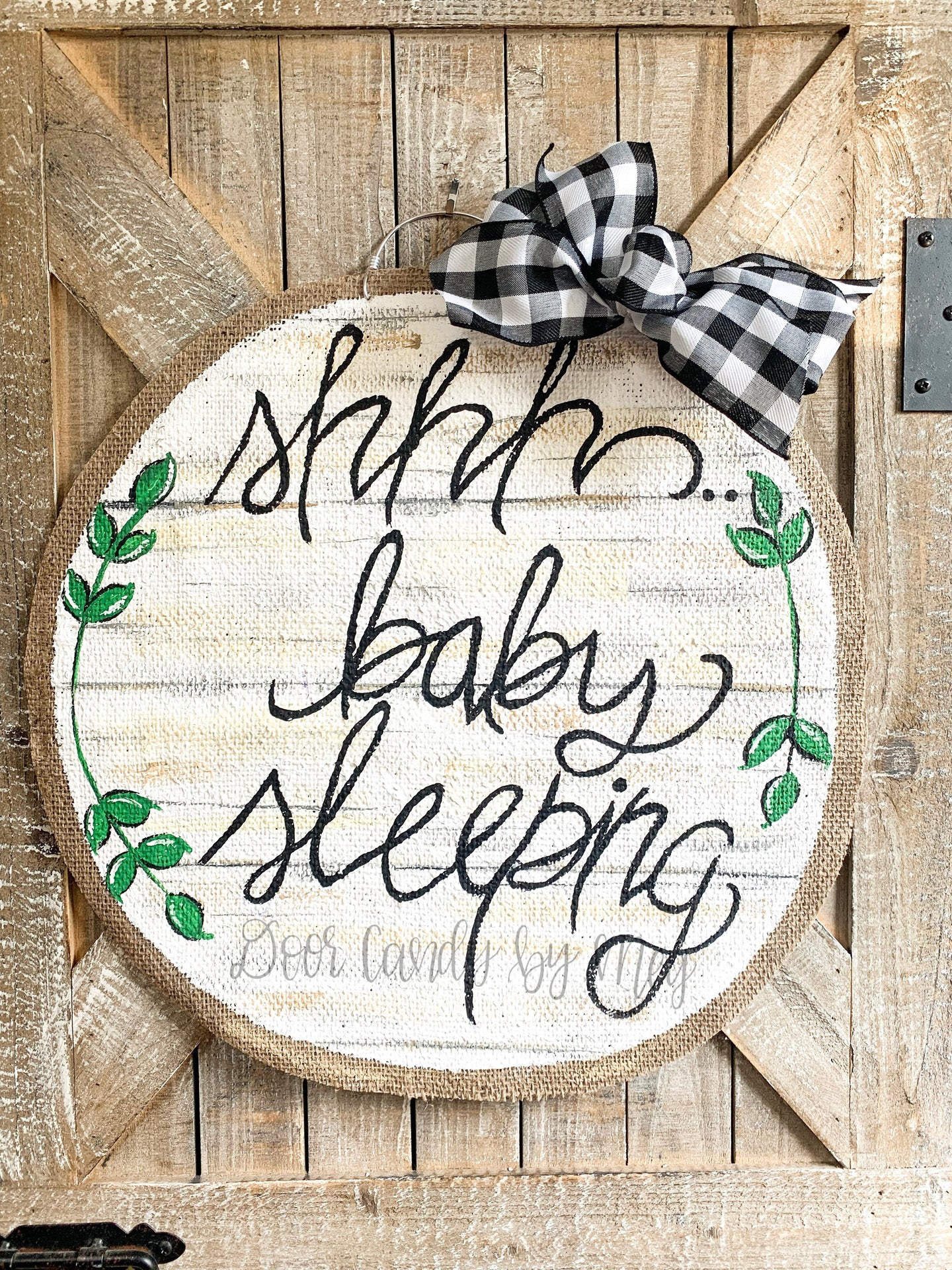 Farmhouse Door Hanger - Baby Sleeping