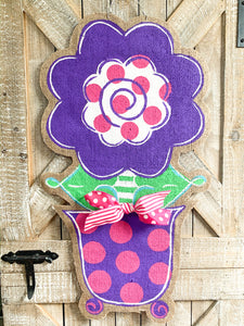 Burlap Flower Door Hanger - Stacey Spring Flower in Purple and Pink