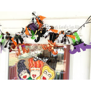 Halloween Witch Leg Garland - Mixed Print with Buffalo Check