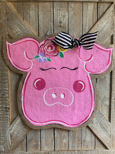 Farm Animal Door Hanger - Pig with Floral Detail