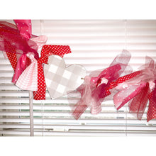 Load image into Gallery viewer, Hand Tied Valentine's Day Garland with Buffalo Check Hearts