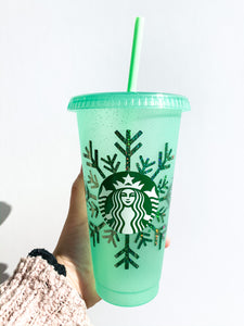 Holiday Glitter Snowflake Reusable Cup - seafoam