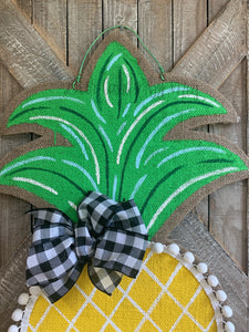 Burlap Pineapple Door Hanger (Large/Yellow/Criss Cross)
