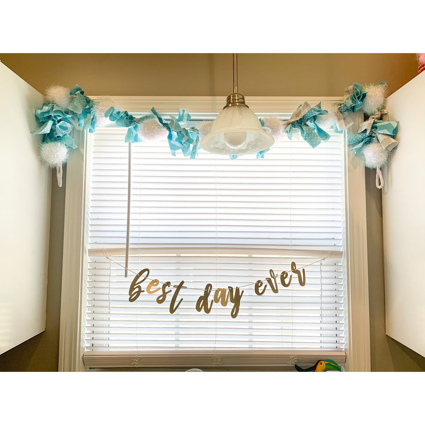 Hand Tied Snowball Garland in Turquoise