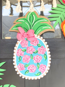 Burlap Pineapple Door Hanger - Lilly First Impressions Inspired (Small/Turquoise)