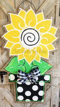 Load image into Gallery viewer, Sunflower Door Hanger - Large Yellow and Black