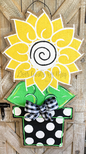 Sunflower Door Hanger - Large Yellow and Black