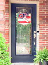 Load image into Gallery viewer, Fourth of July Burlap Door Hanger - Floral Welcome Banner