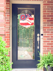 Fourth of July Burlap Door Hanger - Floral Welcome Banner