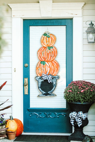 Door Hanger Pumpkin Topiary - Large Orange