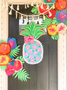 Burlap Pineapple Door Hanger - Lilly First Impressions Inspired Floral (Large/Turquoise & Pink)