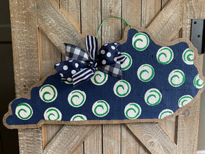 Navy & Green Polka Dot State of Kentucky