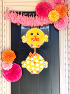 Easter Burlap Door Hanger - Chick-a-dee Girl