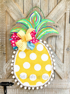 Burlap Pineapple Door Hanger (Small/Multi/Polka Dot)