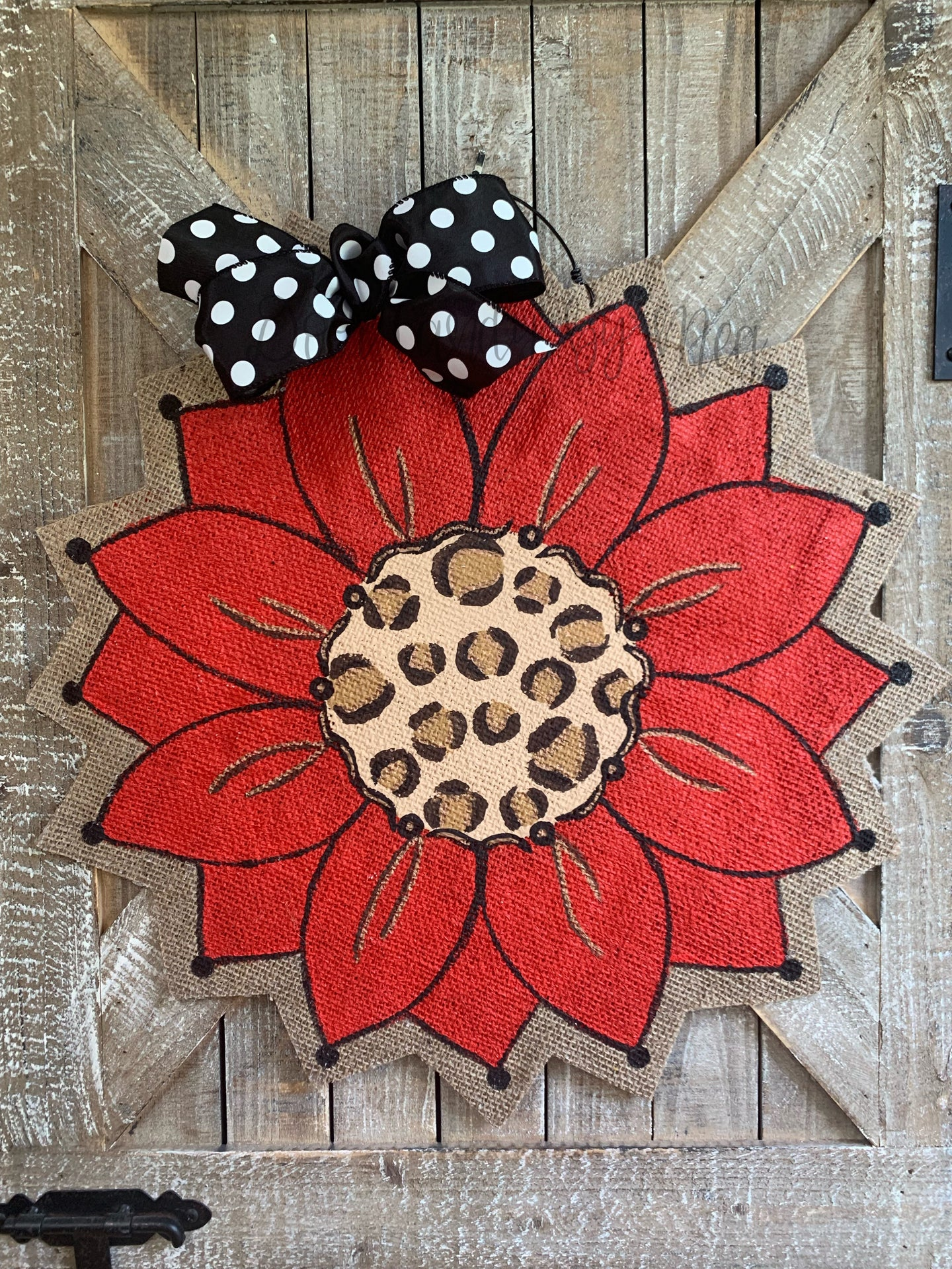 Burlap Sunflower Door Hanger - Red with Leopard Fall Round Sunflower