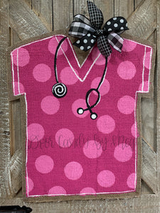 Medical Professional Door Hanger - Pink Polka Dot Scrubs