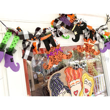 Load image into Gallery viewer, Halloween Witch Leg Garland - Mixed Print with Buffalo Check