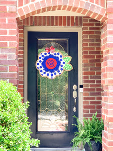 Fourth of July Burlap Door Hanger - Patriotic Flower