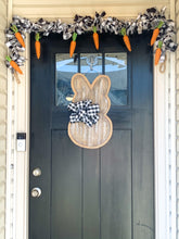 Load image into Gallery viewer, Easter Bunny Burlap Door Hanger Farmhouse Style with Buffalo Check Bow