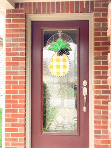 Burlap Pineapple Door Hanger Small Buffalo Check