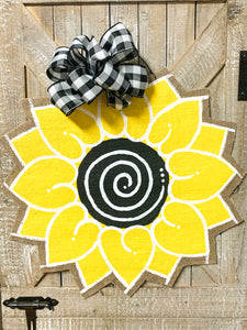 Sunflower Door Hanger - Round Yellow and Black Summer