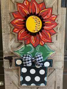 Burlap Sunflower Door Hanger - Large Red Fall in Flowerpot