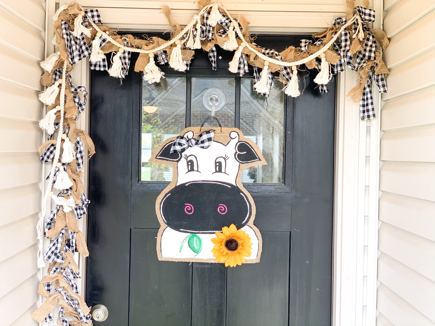 Cow Head Door Hanger - Whimsy Cow with Sunflower