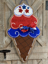 Load image into Gallery viewer, red, white and blue fourth of july ice cream cone door hanger